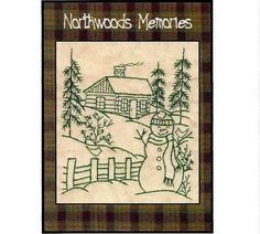 Northwoods Memories Snowman with Cardinals - Redwork Hand Embroidery Pattern by Beth Ritter - Instant Digital Download via Etsy