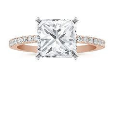 Pave Diamond Engagement Ring in Rose Gold
