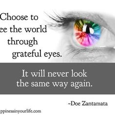 """Choose to see the world through grateful eyes. It will never look the same way again."" - Doe Zantamata"