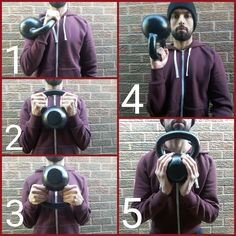 Various ways to hold a kettlebell depending on the exercise being performed.