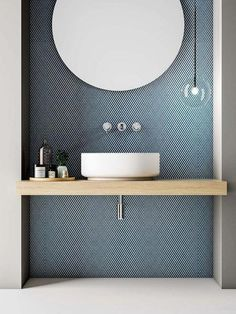 Love the tile with the circular mirror and pale wooden vanity. Clear, single globe light and cute tray of bathroom essentials. Very crisp. Love the tile with the circular mirror and pale wooden vanity. Clear, single globe light and cute tray of Interior Design Minimalist, Minimalist Home, Minimalist Bathroom, Minimalist Wallpaper, Bad Inspiration, Bathroom Inspiration, Bathroom Interior Design, Decor Interior Design, Interior Decorating