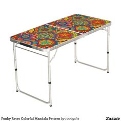 Funky Retro Colorful Mandala Pattern Pong Table