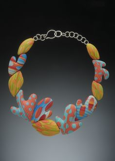 Sassyfrass necklace by J.M. Syron and Bonnie Bishoff, polymer clay.