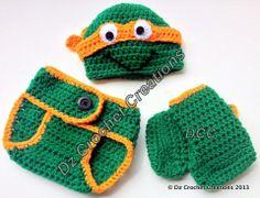 +croshay free pattern | Crochet Ninja Turtle Photo Prop Diaper Cover Set by HandMadeByDz, $30