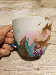 16 oz teal, pink and gold watercolor mug by CraftsByCacey on Etsy https://www.etsy.com/listing/264573136/16-oz-teal-pink-and-gold-watercolor-mug