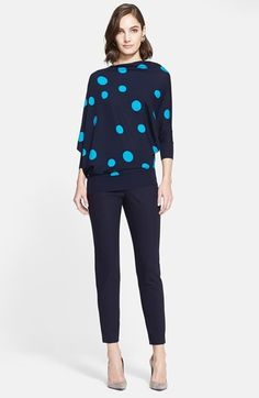 Free shipping and returns on St. John Collection Whimsical Dot Intarsia Knit Asymmetrical Sweater at Nordstrom.com. Three-quarter dolman sleeves frame an artfully draped wool sweater punctuated with playful dots.