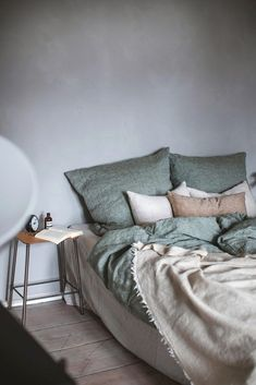 scandinavian bedroom with bedlinen and vintage elements