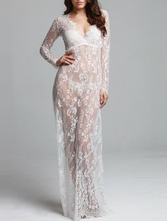 See-Through Plunging Neck Long Sleeve Maxi Dress