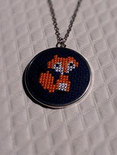 Fox Cross Stitch Necklace by ScotStitch on Etsy, $25.00