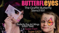 ButterflEYES Graffiti Butterfly Stencil Face painting kit! and BONUS Tut...