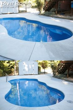 The I Series fiberglass pool comes in 2 sizes: 12x25 and 14x30 and each model can include an optional built-in spa. See our I Series page for more information at riverpoolsandspas.com #swimmingpools #ingroundpools #fiberglasspools