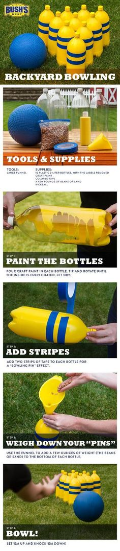 FUN IDEAS FOR KIDS -DIY Backyard Bowling – Easy to make with kids,, and a great way to recycle the bottles leftover after a summer BBQ. So start saving those soda bottles. Backyard Games, Outdoor Games, Outdoor Play, Backyard Bbq, Outdoor Bowling, Backyard Ideas, Party Outdoor, Outdoor Activities, Lawn Games
