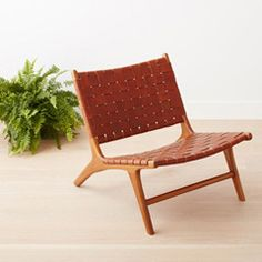 homenature - teak and leather chair - dark