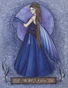 Fairy and fantasy art images, fairy pictures & drawings, flower and butterfly illustrations from Fairies World. Fairies World, Fairy & Fantasy Art Gallery - Jessica Galbreth/Aquarius Fairy© Aquarius Sign, Aquarius Traits, Capricorn And Aquarius, Aquarius Characteristics, Aquarius Personality, Personality Characteristics, Aquarius Woman, Zodiac Art, Zodiac Signs