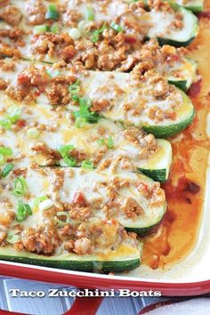 Low carb recipe...Healthy taco zucchini boats with lean ground turkey.