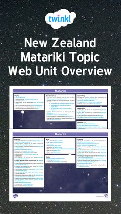 This Planning Overview provides a basic outline of many of the lessons, resources and ideas available for New Zealand Matariki. Use the links provided to take you straight to the activities or use the ideas to help you tailor-make your own unit plan. Display Technologies, Social Science, New Zealand, Curriculum, Literacy, The Unit, Student, Technology, Teaching