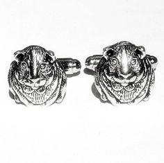 Silver Hamster Cufflinks Men's Handcrafted Furry Pet by Lynx2Cuffs