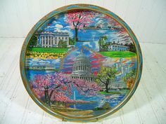 Vintage Washington, DC Tourist Souvenir Metal Tray Painted By Artist Ken Haag - Retro Round Tin Plate with 8 Iconic Nation's Capital Scenes $8.00 by DivineOrders