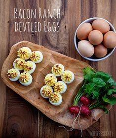BACON RANCH DEVILED EGGS WITH HIDDEN VALLEY RANCH RECIPE