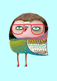 Owl with red glasses. Kids wall art. Limited by AshleyPercival art, owl, illustration, design, cards, stationery, decor