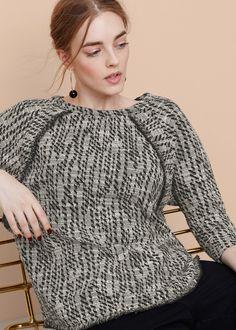 Textured cotton-blend sweatshirt - Sweatshirts Plus sizes Sweat Shirt, Mango Outlet, Fabric Textures, Texture Design, Batwing Sleeve, Curvy, Plus Size, Sweaters, Mango France