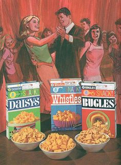 Vintage 1970's Bugles ad with long-discontinued companions, 'Daisys' and 'Whistles'