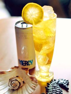 THE MERCY SUMMER LEMONADE.  1 1/2 oz Vodka  2 1/2 oz of lemonade (muddle 1/2 lemon w/ 1 ts sugar)  2 oz of MERCY    Muddle lemons or just use some plain lemonade, add vodka, shake vigorously in a shaker and strain over ice filled highball glass. Top with MERCY and garnish with a lemon wheel.