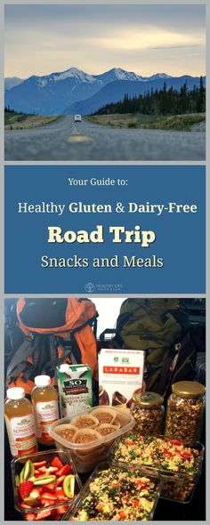 Simple gluten and dairy-free snack and meal ideas to keep your diet on track while traveling on a road trip!