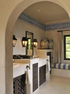 Hacienda style bathroom; MY NOTES>>Using Register/Grill look for the cabinet doors