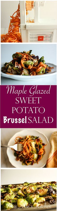 An easy, fresh & delicious spiralized salad featuring fall's most festive flavors - Maple Glazed Sweet Potato & Brussel Salad. Glazed Sweet Potatoes, Paleo On The Go, Maple Glaze, Sweet Potato Recipes, Healthy Salad Recipes, Vegetable Recipes, Fall Recipes, Yummy Food, Fresh