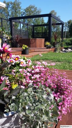 Blandade foton på allt och inget från trädgården! Vi bygger vidare på vår pergola med inbyggd badtunna.