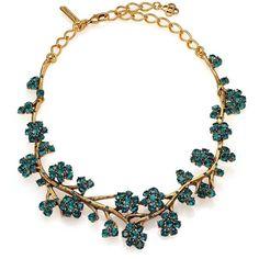 Oscar de la Renta Crystal Branch Collar Necklace ($785) ❤ liked on Polyvore featuring jewelry, necklaces, apparel & accessories, collar jewelry, swarovski crystal jewelry, cross necklace, pandora jewelry and gold tone necklace