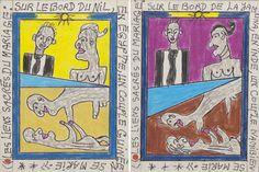 Frédéric Bruly Bouabré, Les liens sacrés du mariage, 2010‐2011. Serie di 150 disegni di 14,3 x 10,7 cm ciascuno. Biro, pastelli a cera su cartone. ©Frédéric Bruly Bouabré. Courtesy Galerie MAGNIN‐A, Paris