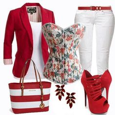 Love the red outfit! Classy Outfits, Chic Outfits, Fall Outfits, Summer Outfits, Fashion Outfits, Fashion Trends, Fashion Moda, Look Fashion, Autumn Fashion