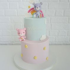 Woodland Cake, Girly Cakes, Bear Cakes, Cake Designs, Fondant, Desserts, Kids, Baby Animals, Deer