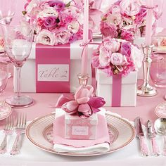 Amazing pink party table & So beautiful and simple - A single tulip loosely ribbon-tied to a ...