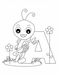 Free Printable Animal Alphabet Worksheets Letter A For Ant Coloring In Pages Kids Online