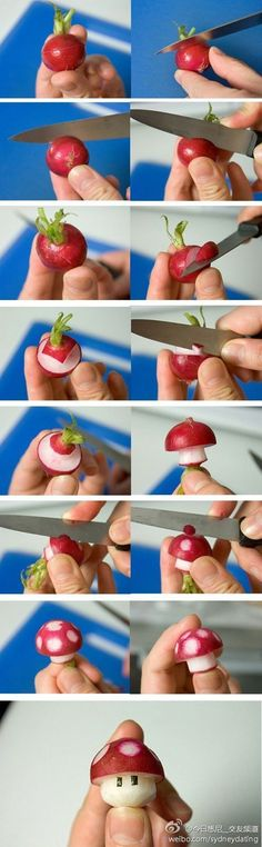 Fun radish DIY mushroom. Cute edible decoration for the table! #food #diy #decoration                                                                                                                                                     More