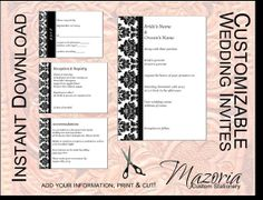 DIY Wedding Invite set TEMPLATE Instant Download printable (damask black 5X7 with 3 cards)