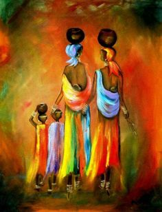 African Paintings Painting - Two Little Girls by Marietjie Henning African Art Paintings, Cross Paintings, Black Women Art, Black Art, Fine Art Amerika, Afrique Art, African American Art, African Women, Afro Art