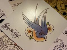 Blue swallow and blossom tattoo flash luxury handmade greeting card, hand trimmed, folded and finished. Made by Vickilicious designs. Vintage Bird Tattoo, Bird Skull Tattoo, Swallow Bird Tattoos, Feather With Birds Tattoo, Bird Tattoo Wrist, Feather Tattoos, Tatoos, Lace Tattoo, Handmade Gift Tags