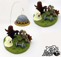 Alien Ghost UFO scene by Dee Raa Arts polymer clay cute kawaii halloween sculpey fimo https://www.facebook.com/DeeRaaArts
