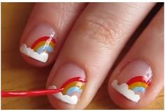 Easy nail designs for short nails - Rainbows. gonna paint my little girl's nails like this:) Fancy Nails, Trendy Nails, Diy Nails, Little Girl Nails, Girls Nails, Cute Easy Nail Designs, Short Nail Designs, Kid Nail Designs, Easy Designs