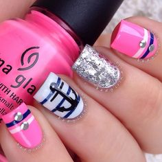 """badgirlnails from instagram has a Nautical Neon featuring chinaglazeofficial """"Shocking Pink,"""" Anchor decal is from nblacquer"""