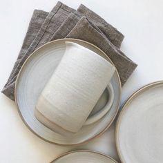 By Annemieke Boots Ceramics  stoneware pitcher - plates - white