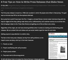 Tips on How to Write a Press Release that Makes News: http://www.stevepiacente.com/blog/2012/10/27/8-free-tips-on-how-to-write-press-releases-that-make-news/
