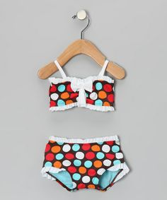 Take a look at this Brown & Blue Spot-On Bandeau Bikini - Infant, Toddler & Girls by Azul Swimwear on #zulily today!