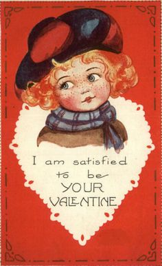 Vintage Valentine's Day card - cutie pie girl with freckles and red hair.
