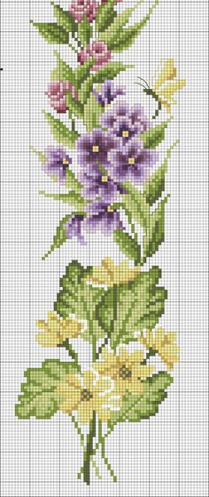 cross stitch flowers and butterflies Cross Stitch Bookmarks, Cross Stitch Love, Cross Stitch Borders, Cross Stitch Flowers, Cross Stitch Charts, Cross Stitch Designs, Cross Stitching, Cross Stitch Patterns, Ribbon Embroidery