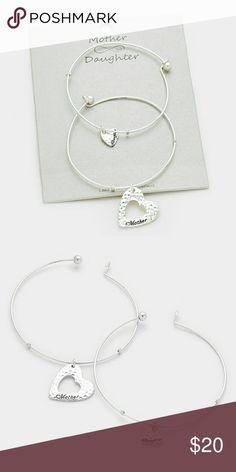 """Mother & Daughter Bracelets 2 PCS - Double heart charm mother & daughter bracelets.   Bracelet 1 Size : 1"""" H, 2.5"""" D Bracelet 2 Size : 0.5"""" H, 2.5"""" D Jewelry Bracelets"""